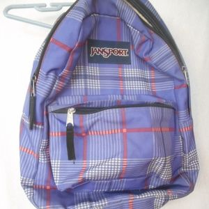 Jansport Backpack purple and pinkish red plaid